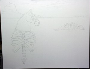 "The initial sketch on canvas for ""Untitled"""