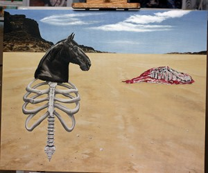 Horse head and ribcage are finished, final details added.  More layers added to carcass.