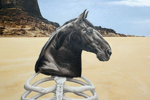 Detail shot of the finished horse head and desert cliffs