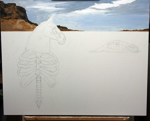 Making the first mark with paint- very rough initial layer