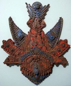 """""""Cuzco"""" by Frededric O. Daspit; wood with acrylic and iron oxide"""