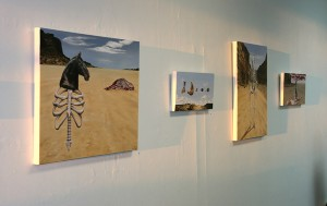 Installation view of Amy Guidry's paintings from the In Our Veins series