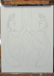 """Symbiotic"" intial sketch; (c) Amy Guidry 2010"
