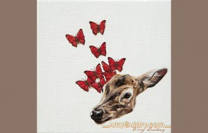 """""""Moment"""" by Amy Guidry; Acrylic on canvas; 4"""" x 4""""; SOLD; (c) Amy Guidry 2013"""