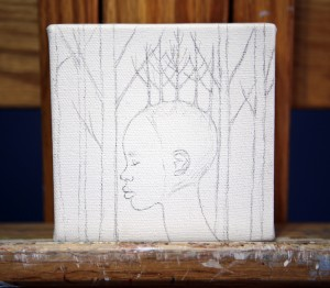 """In progress: """"Fusion"""" by Amy Guidry; 4"""" x 4""""; (c) Amy Guidry 2013"""