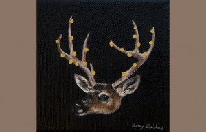 """Memento"" by Amy Guidry; Acrylic on canvas; 4"" x 4""; SOLD; (c) Amy Guidry 2014"