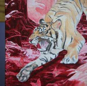 "Painting in progress by Amy Guidry; Acrylic on canvas; 8""w x 10""h; (c) Amy Guidry 2014"