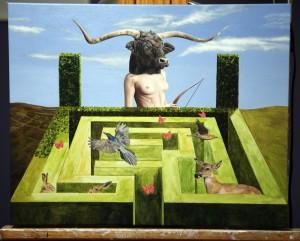 "In progress: ""Dichotomy"" by Amy Guidry; Acrylic on canvas; 20""w x 16""h; (c) Amy Guidry 2014"