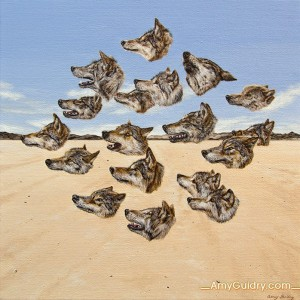 """""""Wolfpack"""" by Amy Guidry; Acrylic on canvas; 12"""" x 12""""; SOLD; (c) Amy Guidry 2014"""