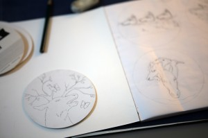"Work in progress by Amy Guidry; 4"" tondo coaster; (c) Amy Guidry 2014"