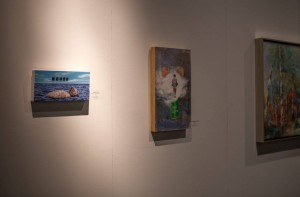 "Installation view of ""Crutch"" by Amy Guidry (Left); Acrylic on canvas; 12""w x 6""h; Capitol Park Museum, Baton Rouge, LA"