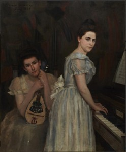 """Two Ladies at the Piano"" by Eleanor Norcross; 1894; Oil on canvas; 45"" x 54"""