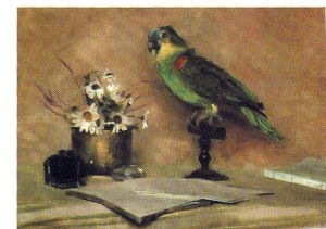 """Still Life with Parrot"" by Eleanor Norcross; Oil on canvas; 12"" x 17.5"""