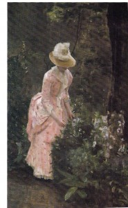 """Woman in Paris Garden"" by Eleanor Norcross; Oil on canvas; 24"" x 38"""