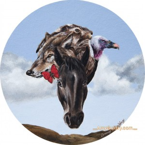 """""""Whole"""" by Amy Guidry; Acrylic on cardstock; 4"""" tondo coaster; SOLD; (c) Amy Guidry 2014"""