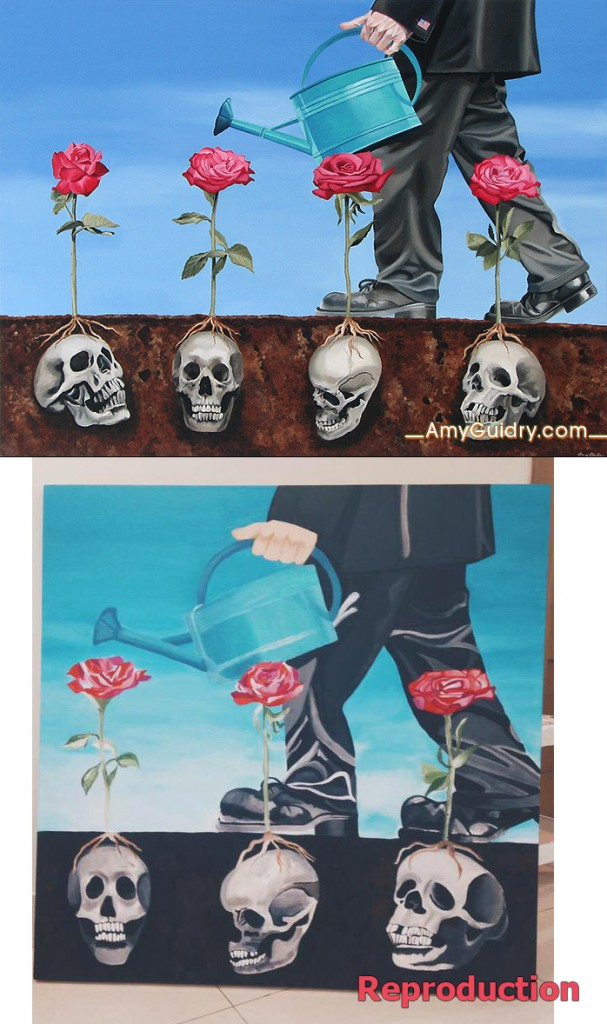 "Original painting (above) ""Everything's Coming Up Roses"" by Amy Guidry; 2007; Acrylic on canvas; 40""w x 30""h; (c) Amy Guidry 2015.  Below is a copy by unknown person"