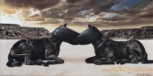 """Dissociate"" by Amy Guidry; Acrylic on canvas; 12""w x 6""h; (c) Amy Guidry 2015"