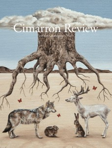 "Cimarron Review cover featuring ""Shelter"" by Amy Guidry, acrylic on canvas, 10"" x 10,"" (c) Amy Guidry 2015"