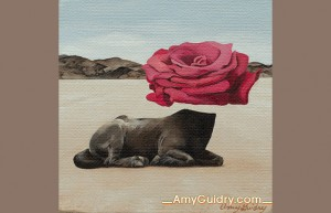 """Circular"" by Amy Guidry; Acrylic on canvas; 4"" x 4""; SOLD; (c) Amy Guidry 2015"