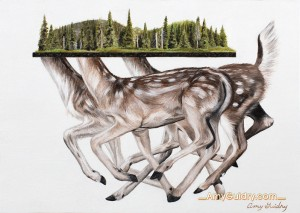 """""""Roam"""" by Amy Guidry; Acrylic on pressed paper; 5.82""""w x 4.13""""h; SOLD; (c) Amy Guidry 2015"""