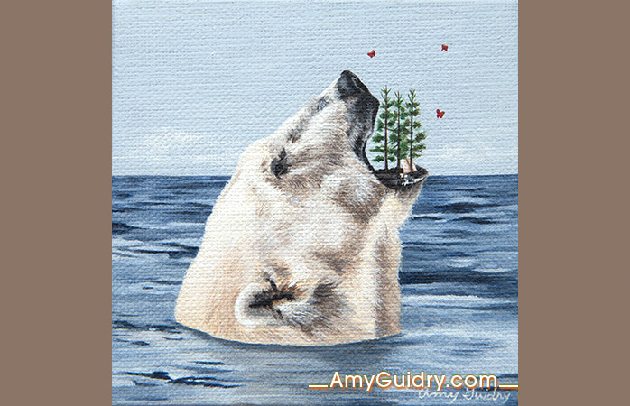 """Insular"" by Amy Guidry; acrylic on canvas; 4"" x 4""; SOLD; (c) Amy Guidry 2016"