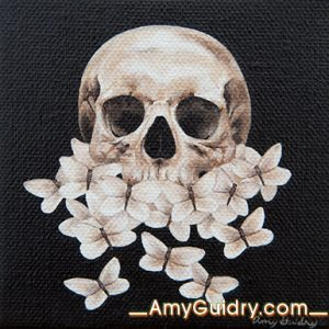 """Rebirth"" by Amy Guidry; Acrylic on canvas; 4"" x 4""; $100; (c) Amy Guidry 2016"