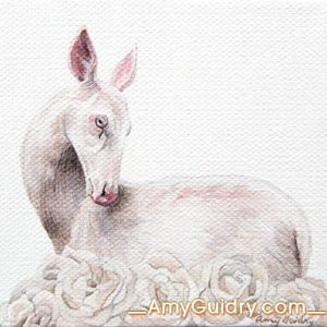 """""""Spring"""" by Amy Guidry; Acrylic on canvas; 4"""" x 4""""; SOLD; (c) Amy Guidry 2016"""
